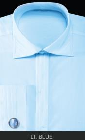ID#IVY6 French Cuff Dress Cheap Fashion Clearance Groomsmen Shirts Sale Online For Men with Cuff Links - Basic Solid Plain Pleated creased Collar Ivory $65