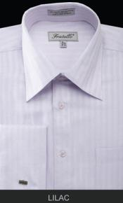 Fratello French Cuff 18 19 20 21 22 Inch Neck Lilac Dress Inexpensive ~ Cheap ~ Discounted Fashion Clearance Shirt Sale Online For Men - Herringbone Tweed Stripe Big and Tall  Large Man ~ Plus Size Suits Sizes