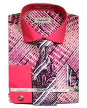 ID#VJ15783 Pink French Cuff Fuchsia Pattern Dress Cheap Fashion Clearance Shirt Sale Online For Men With Tie