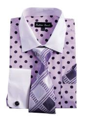 ID#VI22953 White Collared French Cuff Polka Dot Dress Cheap Fashion Clearance Shirt Sale Online For Men with Tie, Handkerchief, Cufflinks Purple