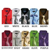 ID#PN-4F French Cuff Dress Cheap Fashion Clearance Shirt Sale Online For Men Matching Tie Handkerchief Combo Multi-Color