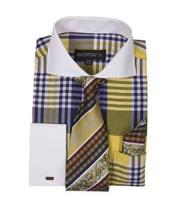ID#NM798 Long Sleeve White Collar Contrast Gold Plaid Window Pane French cuff Dress Cheap Fashion Clearance Shirt Sale Online For Men Tie