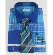 ID#NM661 Turquoise Blue Bold Window Pane Pattern French Cuff With Collar Dress Cheap Fashion Clearance Shirt Sale Online For Men