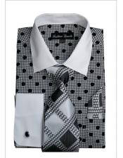 ID#VI22949 White Collared French Cuffed Dress Black Cheap Fashion Clearance Shirt Sale Online For Men & Tie Set
