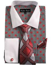 ID#VI22947 White Collared French Cuffed Dress Red Cheap Fashion Clearance Shirt Sale Online For Men & Tie Set
