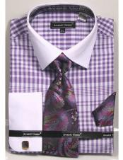 ID#DB23276 Classic Fit Design White Collared French Cuffed Lavender Dress Cheap Fashion Clearance Shirt Sale Online For Men
