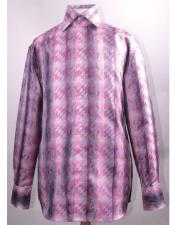 High Collar Fashion Silky Fabric Fuchsia Diamond Pattern Cheap Fashion Clearance Shirt Sale Online For Men