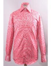 Fuchsia High Collar Fashion Silky Fabric Braid Swirl Pattern Cheap Fashion Clearance Shirt Sale Online For Men