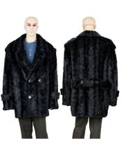 Black Mink Pea Coat