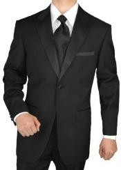 ID#MQ2937 Giorgio Prom ~ Wedding Groomsmen Tuxedo Suit Single Buttons 2pc Peak Collared Jacket with Flat Front Pants