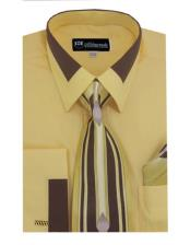 Gold Fashion Contrast Collar French cuff Dress Cheap Fashion Clearance Shirt Sale Online For Men Matching Tie and Hanky Set