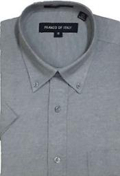 Gray Summer Wear Basic Button Down Short Sleeve Oxford Dress Cheap Fashion Clearance Shirt Sale Online For Men