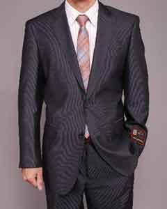 Gray Wedding / Prom Micro-Stripe ~ Pinstripe 2-button Inexpensive ~ Cheap ~ Discounted Cheap Priced Fitted Tapered cut Suit