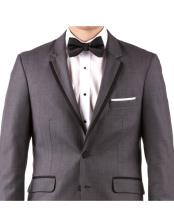 Cheap Clearance Sale Dark Charcoal Gray Tuxedo Prom And Perfect For Wedding Groom & Groomsmen Extra Slim Fit Suit