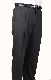 ID#UZ1999 99% Worsted Wool fabric Gray, Parker, Pleated creased Pants Lined Trousers