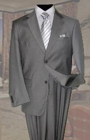 ID#AV2939 Gray Wool fabric Suit Two buttons 2pc Superior fabric 150's With Hand Pick Stitching on Collared