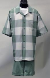 ID#DB17303 Polyester Green Checked Pattern Short Sleeve Walking Suit