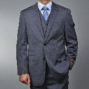 ID#RS7523 Grey Teakweave 2-button Vested 3 ~ Three Piece suit