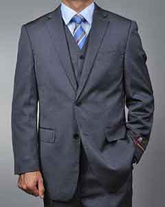 3 ~ Three Piece Grey Teakweave 2-button Vested Cheap Priced Fitted Tapered cut Suit