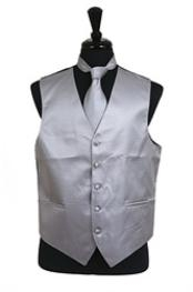 ID#VS2034 Groomsmen Vest ~ Waistcoat ~ Waist coat Horizontal Rib Pattern (Buy 10 of same color Tie For $25 Each) Groomsmen Ties Combo Grey