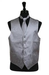 ID#VS2784 Paisley tone on tone Groomsmen Ties (Buy 10 of same color Tie For $25 Each) Combo Grey Groomsmen Wedding Vest ~ Waistcoat ~ Waist coat For Groom and Groomsmen