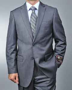 ID#JK3699 Grey Pinstripe 2-button Cheap Priced Fitted Tapered cut Suit