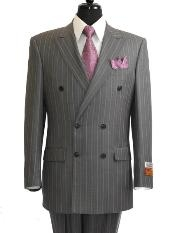 ID#GS902 Grey - Grey Stripe / Pinstripe Double Breasted Suit rayon Fabric