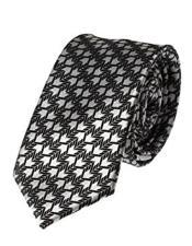 Silver Skinny Necktie Woven