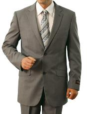 ID#M110000 Light Grey Two buttons Front Closure Cheap Priced Fitted Tapered cut Slim Notch Collared Suit