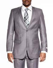 Classic Grey Slim Fit Extra Wedding Prom Skinny Suit