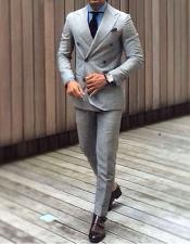 ID#KO17496 Grey ~ Gray & Blue Pattern Window Plaid Suit Pleated Pants
