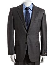 ID# BER_TZ34 Grey Plaid Check Superior fabric 120s Wool fabric 2-Button Suit with Single Pleated creased Pants