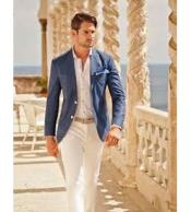 Groom and Groomsmen Wedding Attire For Man 2 Button Wedding Suits for Groom and Groomsmen ~ Blue(Call Over the phone to place the order for this look)