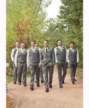 ID#DB15868 Groomsmen Wedding Vest For Groom and Groomsmen & Pants Set (No Jacket) Grey