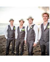 Grey Groomsmen Linen Wedding