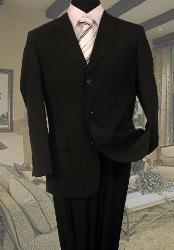 ID#GF711 Dark color black Tone On Tone Stripe ~ Pinstripe Suit Superior fabric 120's Hand Made