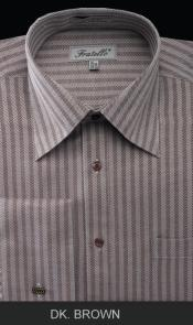 French Cuff Dress Cheap Fashion Clearance Shirt Sale Online For Men - Herringbone Tweed Stripe Dark Coco Chocolate brown