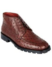 ID#DB19928 Genuine Brown Ostrich Dress Ankle Boots High Top Cheap Priced Exotic Skin Shoes For Sale For Men Rubber Sole