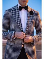 Button Houndstooth Designed Peak