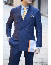 2 Piece Double breasted Teal ~ Bright Blue Indigo ~ Ink Blue Regular Cut Slim Fit suit Pleated Pants