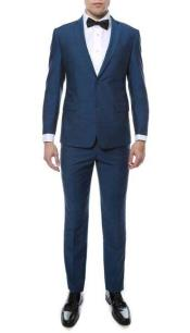 ID#SM816 Bright Blue Indigo Two Button Classic  Notch Collared Inexpensive ~ Cheap ~ Discounted Clearance Sale Extra Slim Fit Prom Suit
