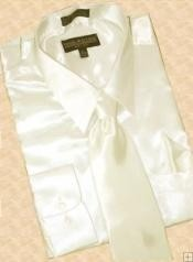ID#HS900 Satin Cream Ivory Dress Cheap Fashion Clearance Shirt Sale Online For Men Tie Hanky Combo
