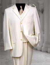 Cream Three buttons three piece suit