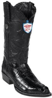 Wild West J-Toe Dark Formal Shoes For Men color black Caiman skin ~ Gator skin Tail Western Dress Cowboy Boot Cheap Priced For Sale Online