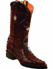 ID#VJ15161 J Toe Genuine Caiman Tail Replaceable Heel Cap Brown Leather Insole Boots