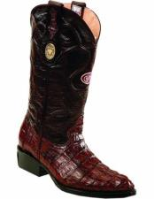 ID#VJ15167 Genuine Caiman Tail J Toe Replaceable Heel Cap Leather Lining Boots Burgundy