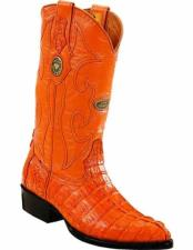 ID#VJ15169 J Toe Genuine Caiman Tail Full Leather Lining Replaceable Heel Cap Boots Buttercup