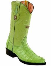 ID#VJ15168 Genuine Caiman Tail J Toe Full Leather Lining Replaceable Heel Cap Boots Pistachio