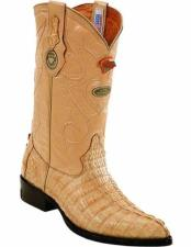 ID#VJ15177 J Toe Genuine Caiman Tail Full Leather Lining With Replaceable Heel Cap Sand Boots