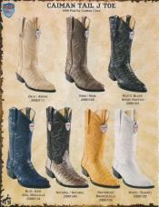 ID#YUZ2 J-Toe Genuine Caiman skin ~ Gator skin Tail western Dress Cowboy Boot Cheap Priced For Sale Online Diff.Colors/Sizes Ivory/Mink/Natural/White